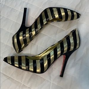 Betsy Johnson Black & Gold Stripe High Heels